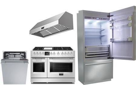 4 Piece Kitchen Appliances Package with BKI36BIRS 36″ Bottom Freezer Refrigerator  F6PDF486GS1 48″ Dual Fuel Gas Range  F6PH48DS1 48″ Wall Mount