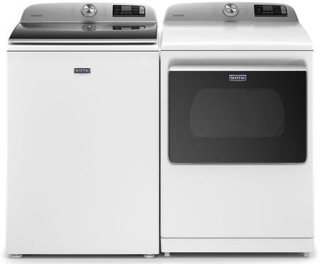 Smart Top Load Laundry Pair with MVW7232HW 28″ Washer and 27″ MED7230HW Electric