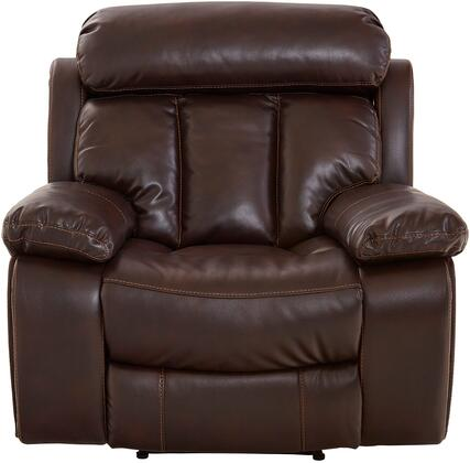 """Bowmen Collection 4207931 43"""""""" Power Recliner with Faux Leather Upholstery  Power Adjustable Headrest  Deep Channel Tufted Back and Pillow Top -  Standard Furniture"""
