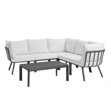 Riverside Collection EEI-3788-SLA-WHI 6 Piece Outdoor Patio Aluminum Set with Powder-Coated Aluminum Frame  All-Weather Fabric Cushions and Plush 4″
