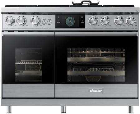 Dacor Contemporary DOP48M96DAS Freestanding Dual Fuel Range Stainless Steel, Front View