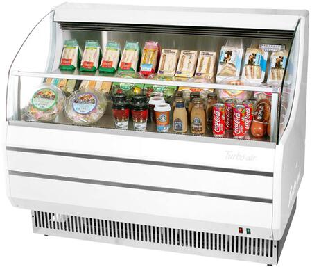 Turbo Air TOM40SWN Display and Merchandising Refrigerator White, TOM40SWN Angled View