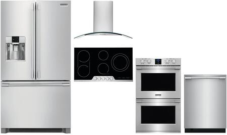 5 Piece Kitchen Appliances Package with 36″ French Door Refrigerator  30″ Electric Double Wall Oven  36″ Electric Cooktop  36″ Wall Mount Hood and