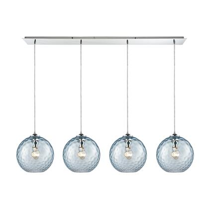 31380/4LP-AQ Watersphere 4 Light Linear Pan Fixture in Polished Chrome with Aqua Hammered