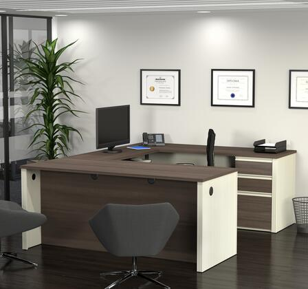 Bestar Furniture 9987152 Desk, prestige+ white chocolat antigua 99871 52 room