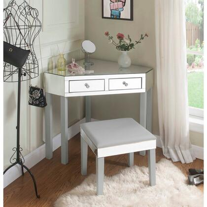 Perry Collection JF97-07GR-AC Mirrored Vanity Table with 2 Drawers  Transitional Style and Stool Included in Grey