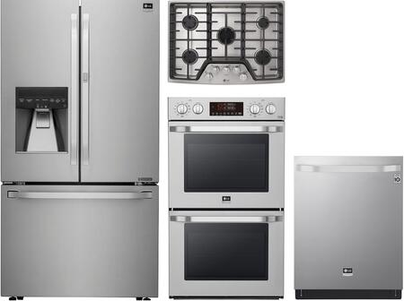 4 Piece Kitchen Appliances Package with LSFXC2476S 36″ French Door Refrigerator  LSWD307ST 30″ Electric Double Wall Convection Oven  LSCG307ST 30″