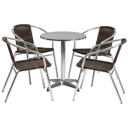 Flash Furniture Tlhalum TLHALUM24RD020CHR4GG Outdoor Patio Set Brown, TLH ALUM 24RD 020CHR4 GG