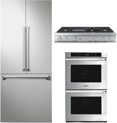 """3 Piece Kitchen Appliances Package with DRF367500AP 36"""" French Door Refrigerator HWO230PS 30"""" Electric Double Wall Oven and DTT48M976LS 48"""" Gas"""