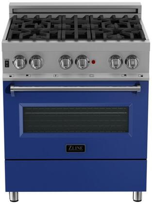 RAS-BM-30 30″ Blue Matte Professional Natural Gas Dual Fuel Range with 4 Italian Burners  4 cu. ft. Capacity Oven  Cast Iron Grates and Dual
