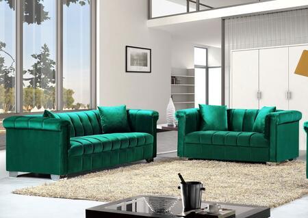 Meridian Kayla 6152PCSTLKIT3 Living Room Set Green, 2 PC Set