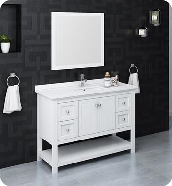 Manchester Collection FVN2348WH 48″ White Traditional Bathroom Vanity with