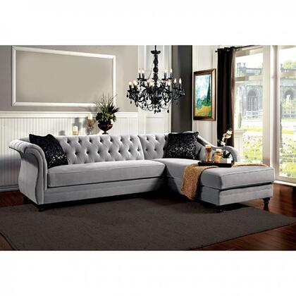 Furniture of America Rotterdam SM2261PK Sectional Sofa Gray, Main Image