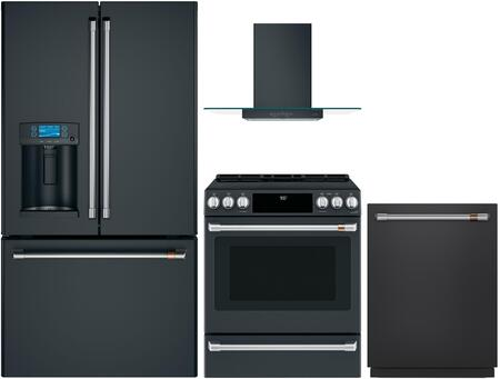 4 Piece Kitchen Appliances Package with CYE22TP3MD1 36″ French Door Refrigerator  CHS900P3MD1 30″ Slide-in Electric Range  CVW73013MDS 30″ Wall Mount
