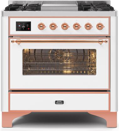UM09FDNS3WHP 36″ Majestic II Series Dual Fuel Natural Gas Range with 6 Burners and Griddle  3.5 cu. ft. Oven Capacity  TFT Oven Control Display