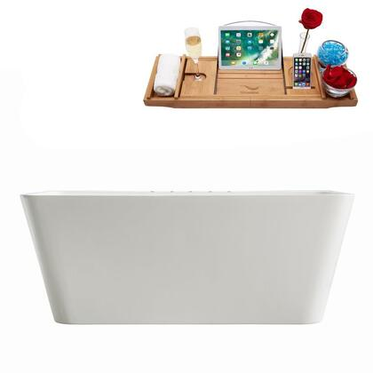 M-2060-67FSWH-DM 67″ Soaking Freestanding Tub and tray With Internal Drain in