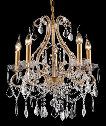 A25-5 5-Light Chandelier with Iron and Crystal Materials and 60 Watts in Gold