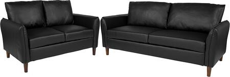 BT-S8373-SFLS-BK-GG Milton Park Upholstered Plush Pillow Back Loveseat and Sofa Set in Black