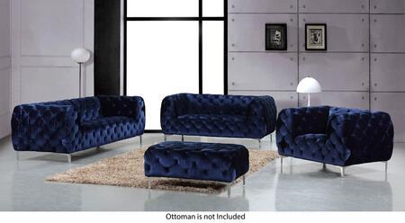 Meridian Mercer 646NAVYSLC Living Room Set Blue, Main Image
