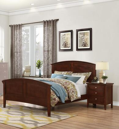 Whistler Collection WH701QN 2-Piece Bedroom Set with Queen Bed and Nightstand in Brown