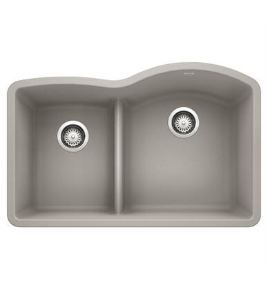 Diamond 442743 Silgranit Undermount Sink Bowl Reverse with Low Divide  in Concrete