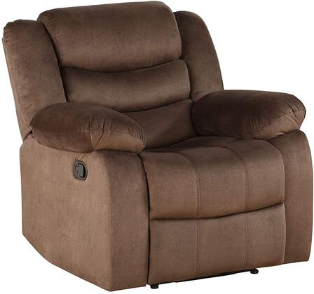 Angelina Collection 55047 Recliner  Horizontal Tufted  External Latch Handle  Tight Back & Seat Cushion  Pocket Coil Seat  Wooden & Metal Frame  KD