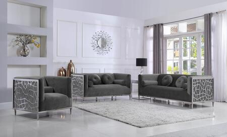 Meridian Opal 672GreySET Living Room Set Gray, Main Image