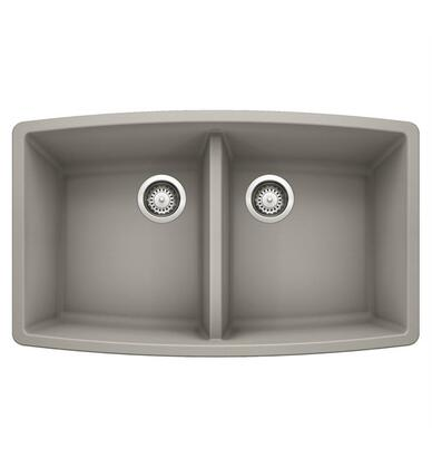 Performa 442734 Silgranit Undermount Equal Double Sink Bowl  in Concrete
