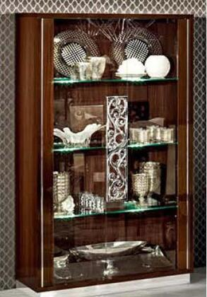 ESF Roma ROMA2DOORCHINAWALNUT Curio Cabinet Brown, ROMA2DOORCHINAWALNUT