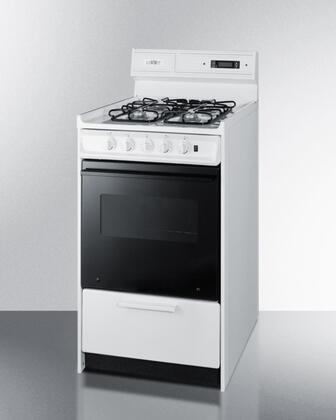 "WNM1307DK 20"" Freestanding Gas-Natural Gas Range with 4 Open Burners 2.5 Cu. Ft. Capacity Manual Clean See-Thru Door Broiler Drawer & Electronic"