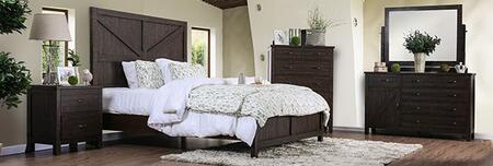 Furniture of America Brenna CM7435EXQBEDNSCHDRMR Bedroom Set Brown, CM7435EX-Q-BED-NSCHDRMR