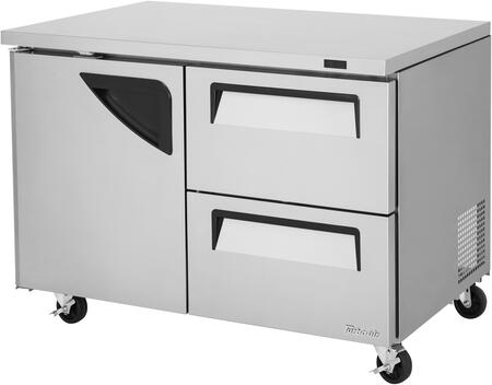Turbo Air Super Deluxe TUR48SDD2N Undercounter and Worktop Refrigerator Stainless Steel, TUR48SDD2N Angled View