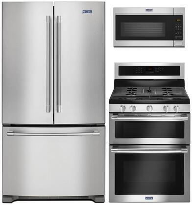 """3 Piece Kitchen Appliances Package with MFF2258FEZ 33"""" French Door Refrigerator MGT8800FZ 30"""" Gas Range and MMV1175JZ 30"""" Over the Range Microwave"""