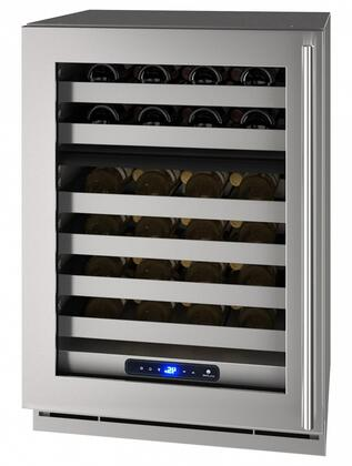 UHWD524SG51A 24″ 5 Class Stainless Steel Dual-Zone Wine Captain with 49 Bottle Capacity  Six Wine Racks  Digital Touch Pad Control and LED