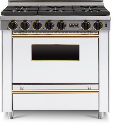 FiveStar  WPN3367SW Freestanding Gas Range White, WPN3367W Brass Trim Sealed Burner Gas Range
