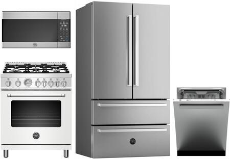 4 Piece Kitchen Appliances Package with REF36X 36″ French Door Refrigerator  MAST305DFMBIE 30″ Dual Fuel Range (Matte White)  KOTR30X 30″ Over the