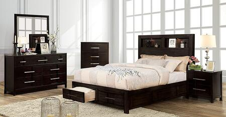Furniture of America Karla CM7500EXQBEDNSCHDRMR Bedroom Set Brown, CM7500EX-Q-BED-NSCHDRMR