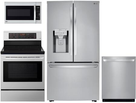 4 Piece Kitchen Appliances Package with LRFXC2406S 36″ French Door Refrigerator  LRE3194ST 30″ Electric Range  LMV2031ST 30″  Over the Range