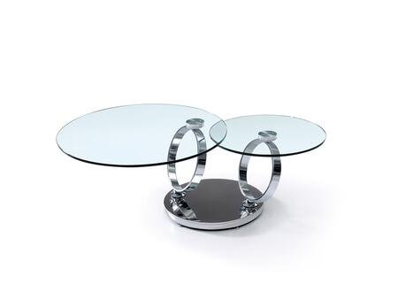 Satellite Collection CB-129 31″ Coffee Table with Clear Glass Slide Top Mechanism  Round Shape and High Polished Stainless Steel Pedestal