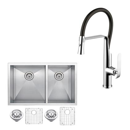 CF511-UD-3320A 33″ X 20″ Zero Radius 60/40 Double Bowl Stainless Steel Hand Made Undermount Kitchen Sink With Drains  Strainers  Bottom Grids  And