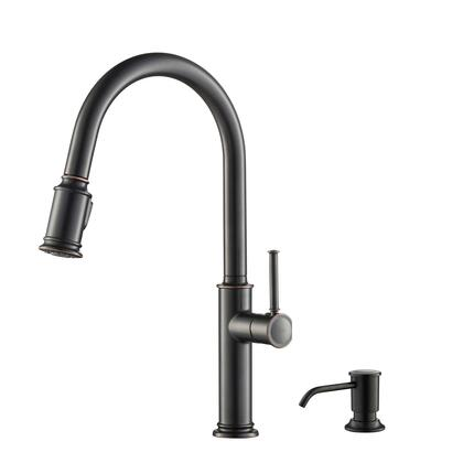 Sellette Series KPF-1680ORB-KSD-80ORB Single Handle Pull Down Kitchen Faucet with Deck Plate and Soap Dispenser in Oil Rubbed Bronze