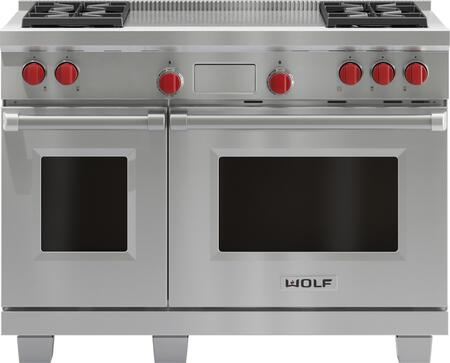 Wolf DF484F Freestanding Dual Fuel Range Stainless Steel, Main Image