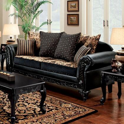 Furniture of America Theodora SM7505NSF Stationary Sofa Black, sm7505n sf 1