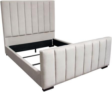"Venus_Collection_VENUSLGEKBED_89""_King_Bed_with_Velvet_Upholstery__Vertical_Channel_Tufted_Design_on_Headboard_&_Footboard_and_Low_Profile_in_Light"