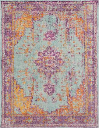 """Antioch AIC-2307 7'10"""" x 10'3″ Rectangle Traditional Rugs in Lavender  Dark Purple  Sea Foam  Bright Yellow  Saffron  White"""