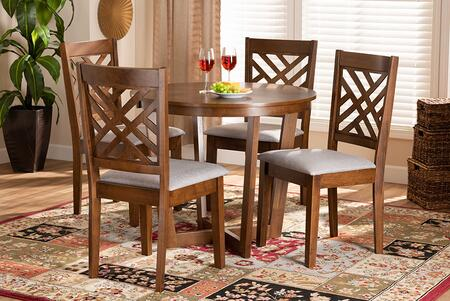 Wholesale Interiors Alena ALENAGREYWALNUT5PCDININGSET Dining Room Set , 9881 10897 7