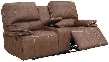 U8078-SULTRY DRK BROWN/PECAN-PCRLS Power Reclining Loveseat with Console and USB Charging Ports  Split Back Cushions in Dark