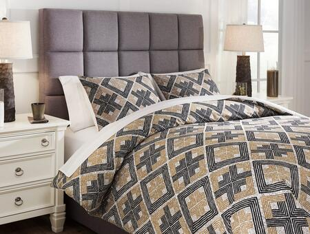 Signature Design by Ashley Scylla Q473003K Comforter Brown, LifeStyle View