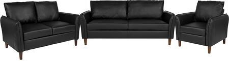 BT-S8373-SET-BK-GG Milton Park Upholstered Plush Pillow Back Chair  Loveseat and Sofa Set in Black