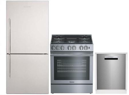 """3-Piece Kitchen Appliances Package with BRFB1822SSN 30"""" Bottom Freezer Refrigerator BGR30522SS 30"""" Gas Range and DWT81800SSIH 24"""" Built In Fully"""